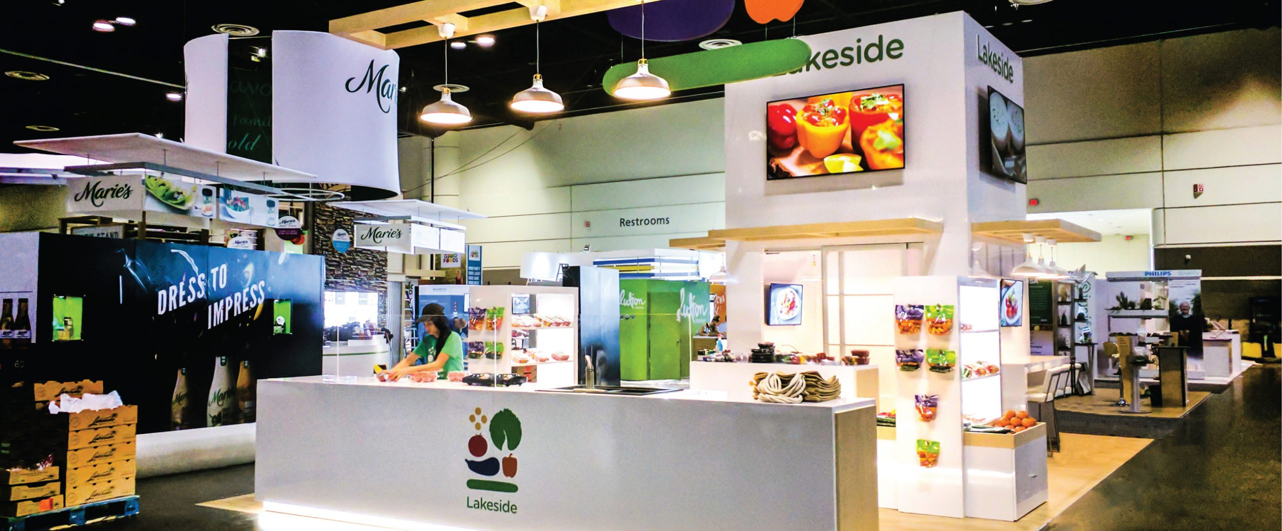 an image of the Lakeside Produce activation, with the custom built, laminated counter