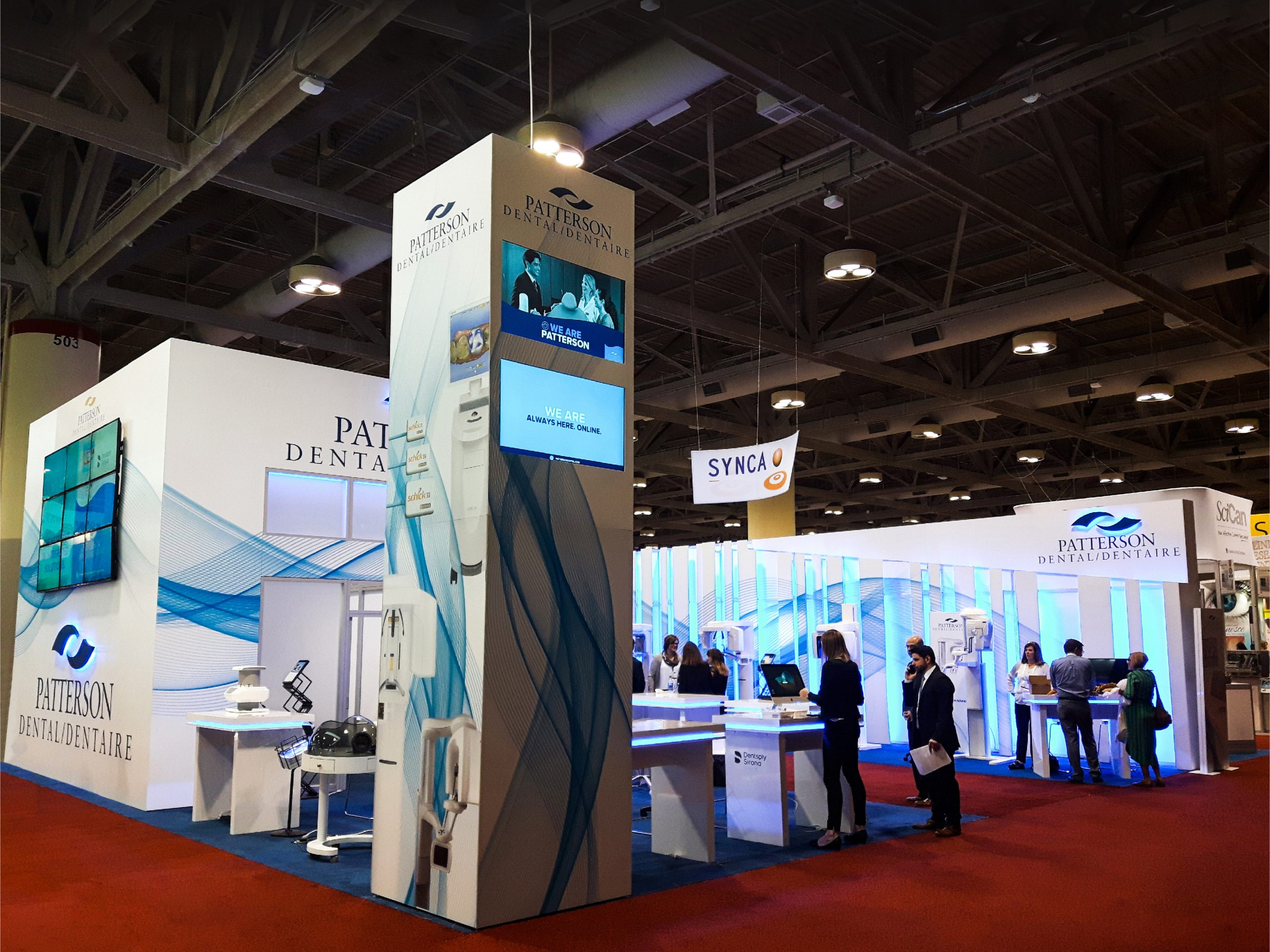 an image of the media tower and light wall for the Patterson Dental activation