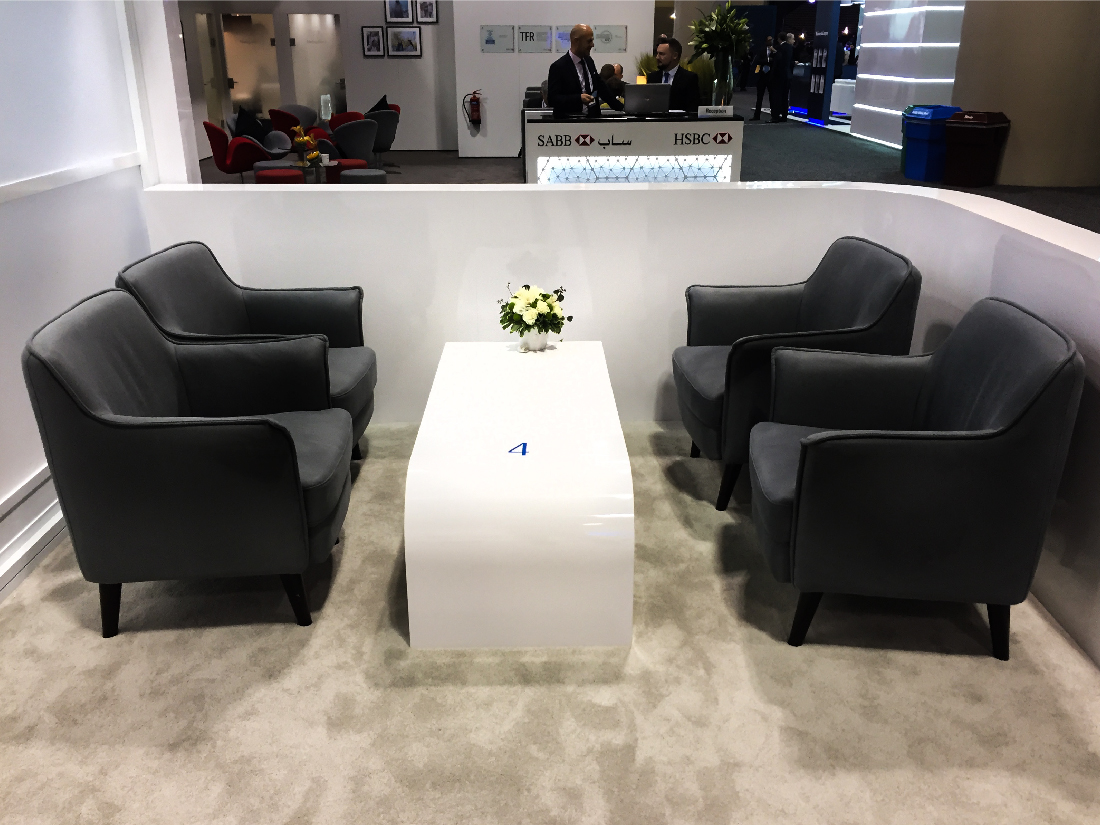 This is a view of the seating area in the BMO Sibos activation