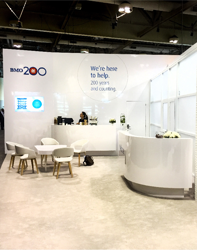 This is a view of the curved counter at the Bank of Montreal activation for Sibos