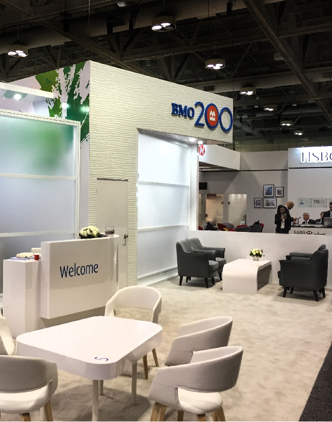 A side view of the Bank of Montreal activation for Sibos