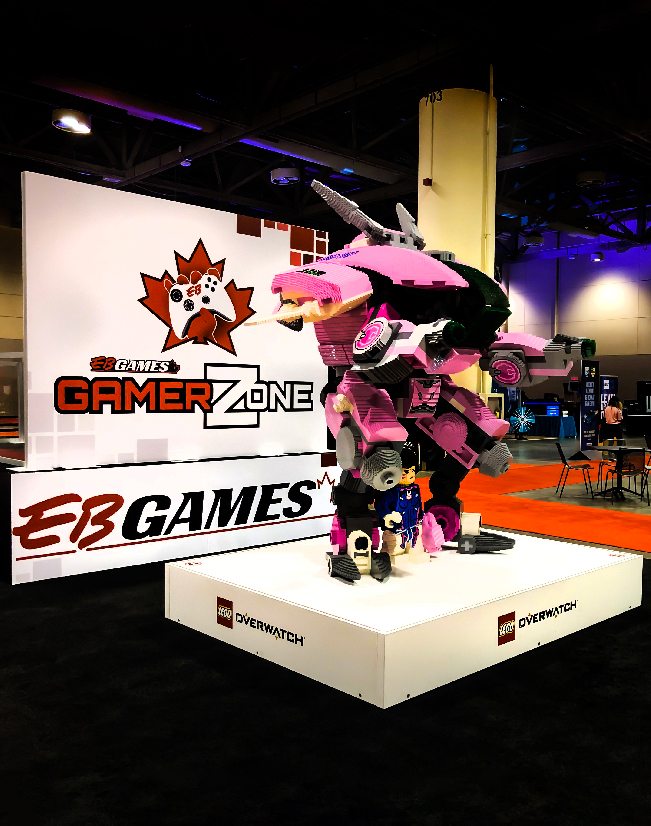 This is an image of the EB games Overwatch Lego display for Fan Expo with seamless sintra wall