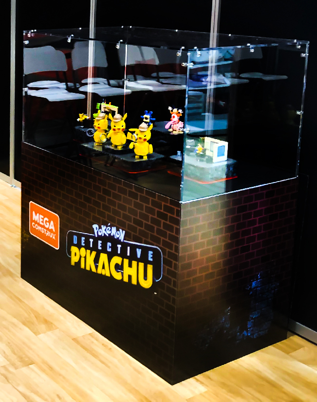 this is an image of the Detective Pikachu display case from EB Games