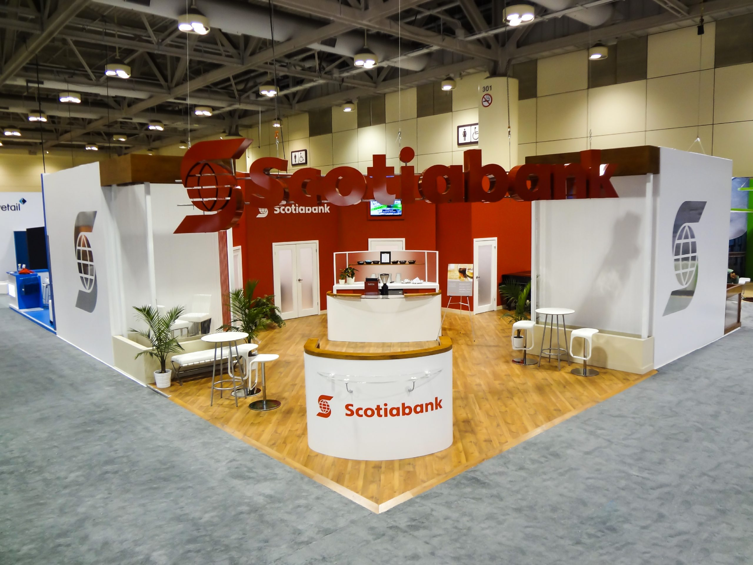 this is an overhead view of the Scotiabank activation, with the custom desk and hanging 3d signage visible