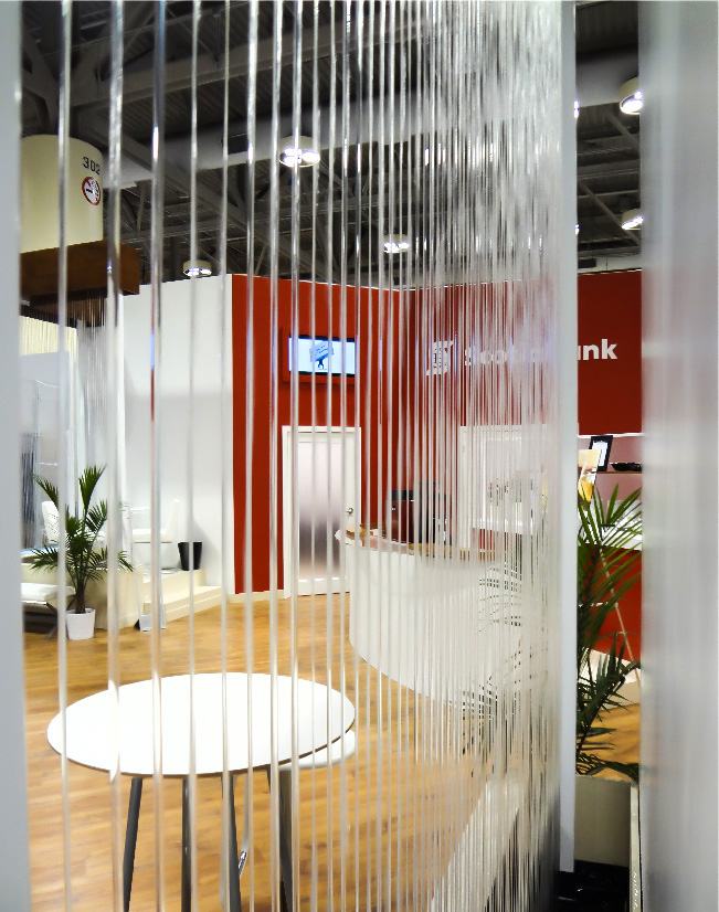 This is a view of the waterfall in the Scotiabank Sibos activation
