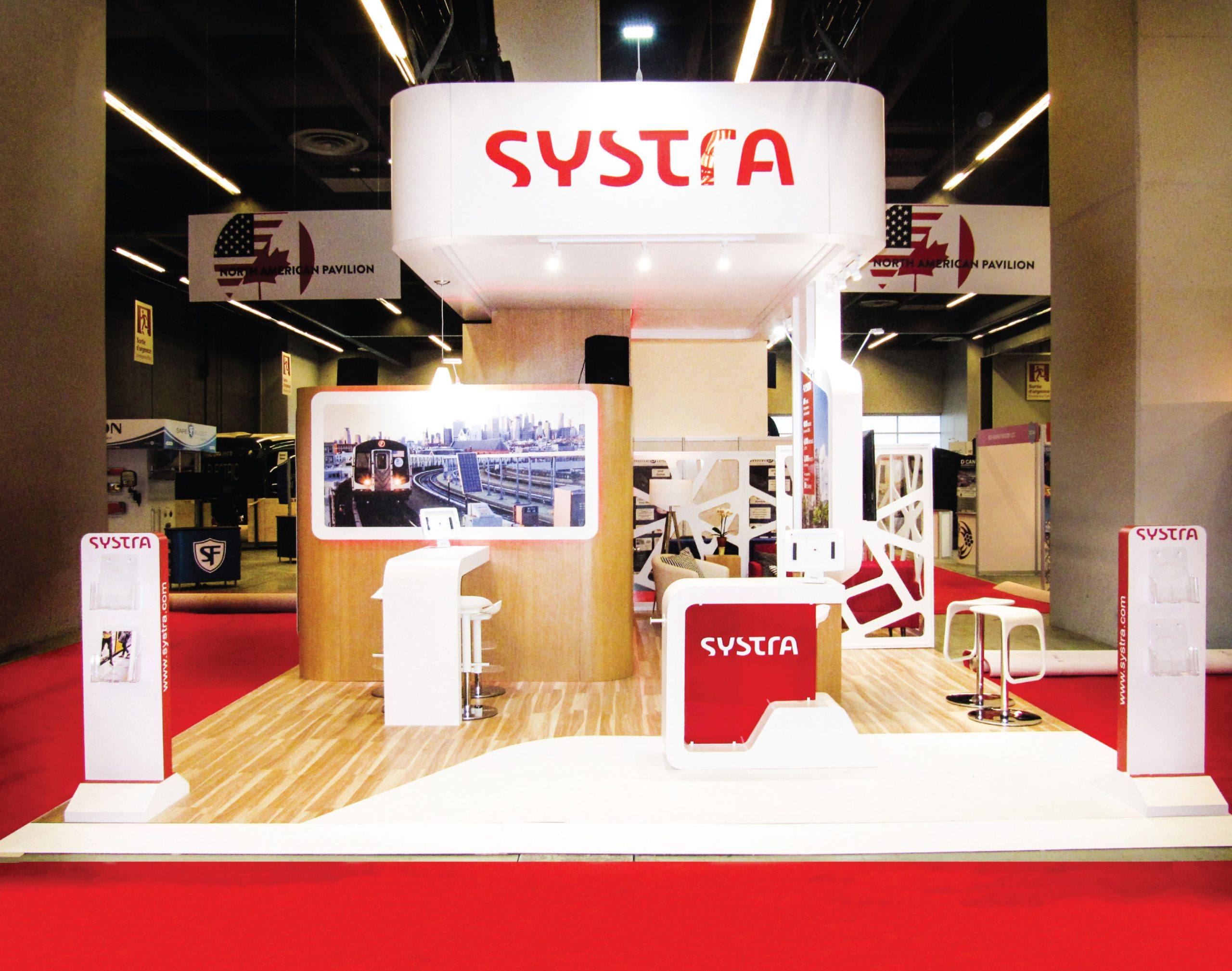 an image of the Systra activation, with the custom desk and seating area