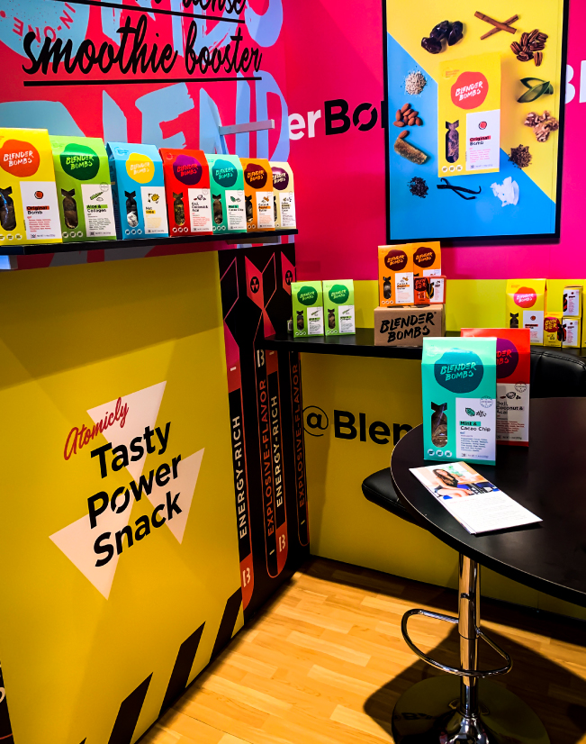 an interior image of the Blender Bombs activation, with shelving visible