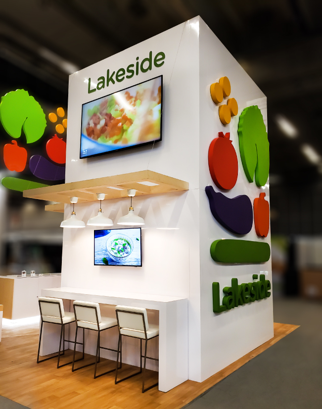 an interior image of the Lakeside Produce activation with the 3d foam logo and lettering
