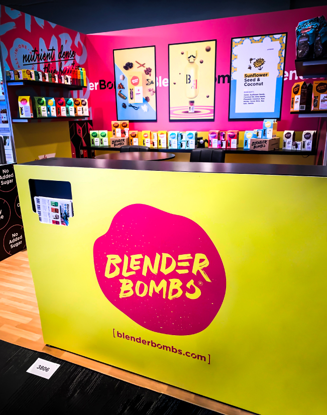 an image of the blender bombs activation, with the desk visible
